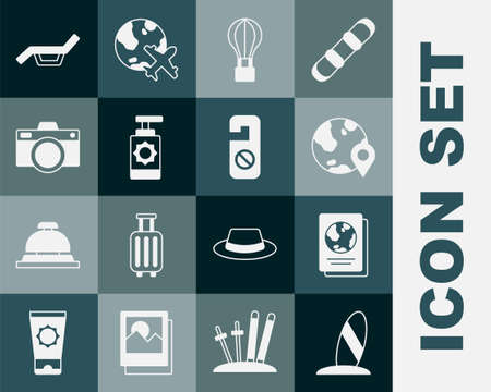Set Surfboard, Passport, Location on the globe, Hot air balloon, Sunscreen spray bottle, Photo camera, Sunbed and umbrella and Please do not disturb icon. Vector Vektorové ilustrace