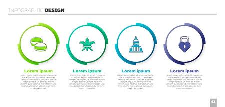 Set Macaron cookie, Fleur De Lys, Museum building and Castle the shape of heart. Business infographic template. Vector