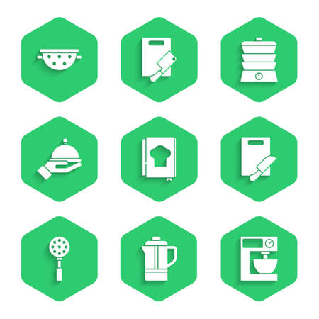 Set Cookbook, Teapot, Electric mixer, Cutting board and knife, Spatula, Covered with tray, Slow cooker and Kitchen colander icon. Vector Vecteurs