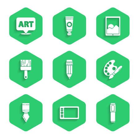 Set Pencil with eraser, Graphic tablet, Marker pen, Paint brush palette, Palette knife, and Speech bubble text art icon. Vector Vecteurs