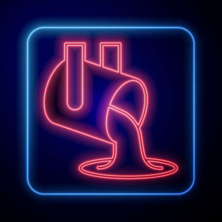 Glowing neon Molten gold being poured icon isolated on black background. Molten metal poured from ladle. Vector