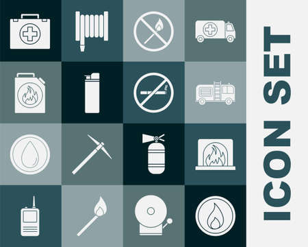 Set Fire flame, Interior fireplace, truck, No match, Lighter, Canister for flammable liquids, First aid kit and Smoking icon. Vector Vector Illustration