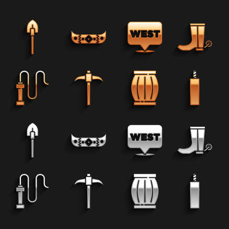 Set Pickaxe, Cowboy boot, Dynamite bomb, Gun powder barrel, Leather whip, Pointer to wild west, Shovel and Kayak or canoe and paddle icon. Vector