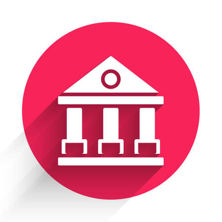 White Courthouse building icon isolated with long shadow. Building bank or museum. Red circle button. Vector