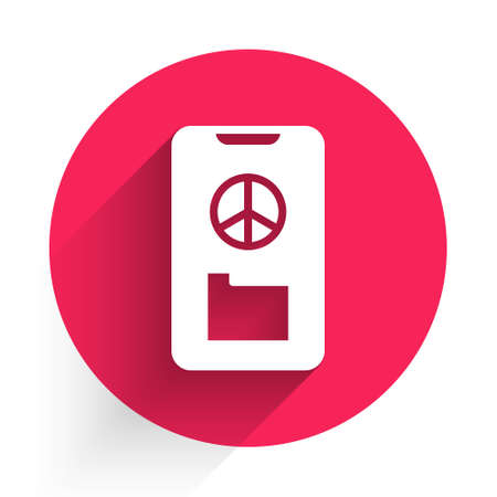 White Peace icon isolated with long shadow. Hippie symbol of peace. Red circle button. Vector  イラスト・ベクター素材