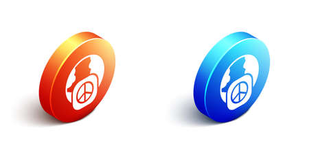 Isometric International day of peace icon isolated on white background. World peace. Orange and blue circle button. Vector