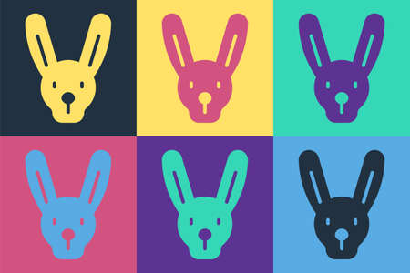 Pop art Rabbit with ears icon isolated on color background. Magic trick. Mystery entertainment concept. Vector