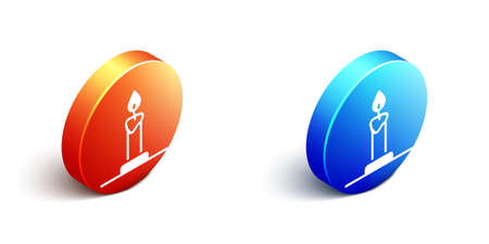 Isometric Burning candle in candlestick icon isolated on white background. Cylindrical candle stick with burning flame. Orange and blue circle button. Vector