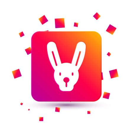 White Rabbit with ears icon isolated on white background. Magic trick. Mystery entertainment concept. Square color button. Vector