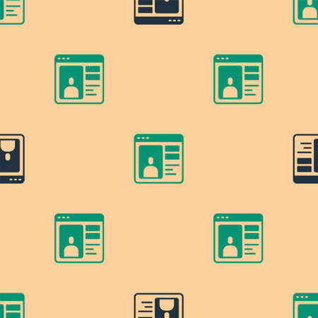 Green and black Dating app online laptop concept icon isolated seamless pattern on beige background. Female male profile flat design. Couple match for relationship. Vector  イラスト・ベクター素材