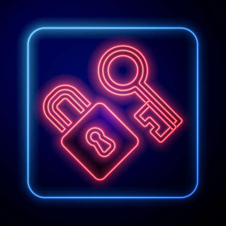 Glowing neon Lock with key icon isolated on black background. Love symbol and keyhole sign. Vector  イラスト・ベクター素材