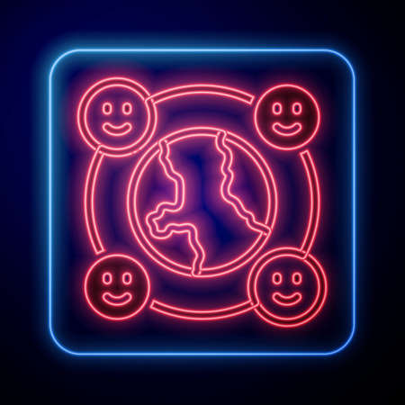 Glowing neon International community icon isolated on black background. Worldwide community. Cross cultural communication. Making friends worldwide. Vector