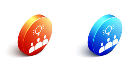 Isometric Project team base icon isolated on white background. Business analysis and planning, consulting, team work, project management. Orange and blue circle button. Vector  イラスト・ベクター素材