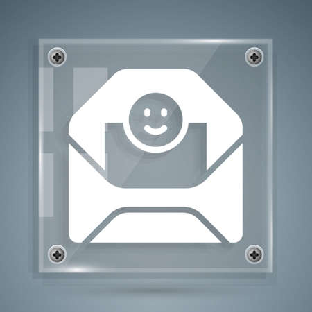 White Envelope with Valentine heart icon isolated on grey background. Message love. Letter love and romance. Square glass panels. Vector