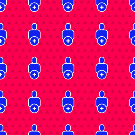 Blue Add to friend icon isolated seamless pattern on red background. Vector