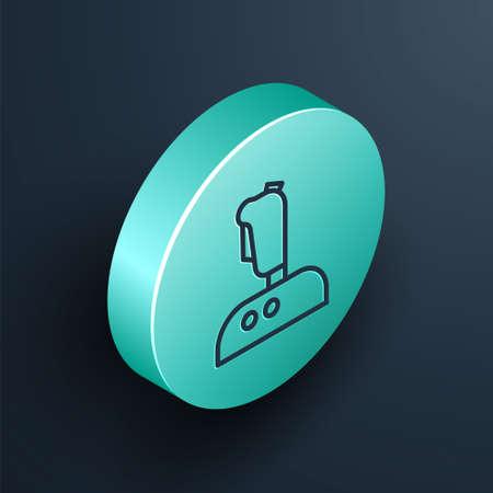 Isometric line Joystick for arcade machine icon isolated on black background. Joystick gamepad. Turquoise circle button. Vector Illustration