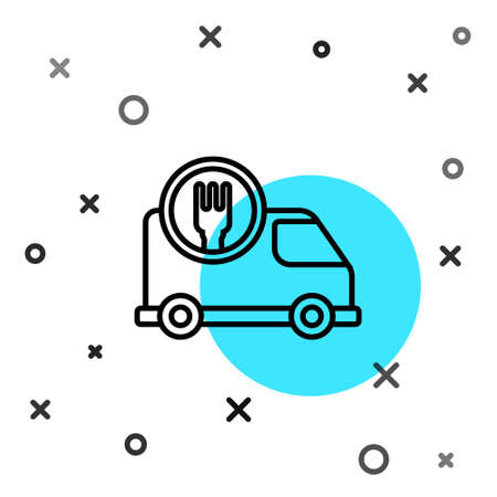 Black line Fast round the clock delivery by car icon isolated on white background. Random dynamic shapes. Vector Illustration