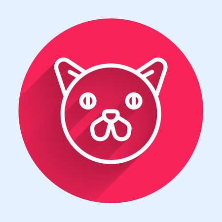 White line Cat icon isolated with long shadow. Animal symbol. Red circle button. Vector
