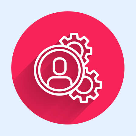 White line Head hunting icon isolated with long shadow. Business target or Employment sign. Human resource and recruitment for business. Red circle button. Vector  イラスト・ベクター素材