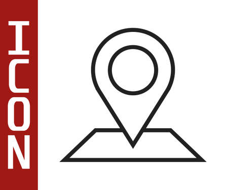 Black line Map pin icon isolated on white background. Navigation, pointer, location, map, gps, direction, place, compass, search concept. Vector