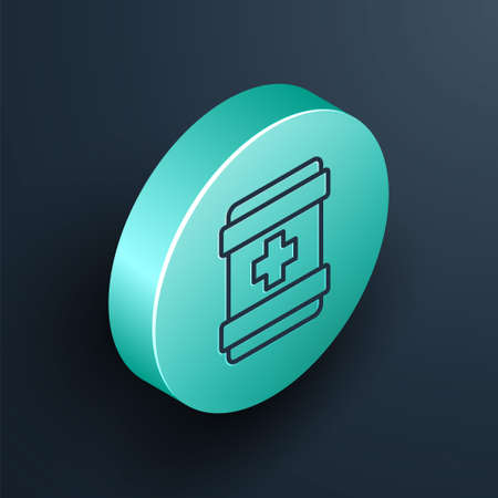 Isometric line First aid kit icon isolated on black background. Medical box with cross. Medical equipment for emergency. Healthcare concept. Turquoise circle button. Vector