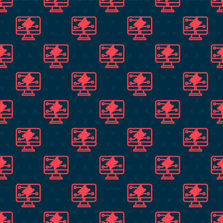 Red line Genetic engineering modification on monitor icon isolated seamless pattern on black background. DNA analysis, genetics testing, cloning. Vector