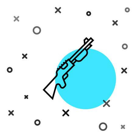 Black line Hunting gun icon isolated on white background. Hunting shotgun. Random dynamic shapes. Vector