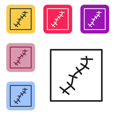Black line Scar with suture icon isolated on white background. Set icons in color square buttons. Vector