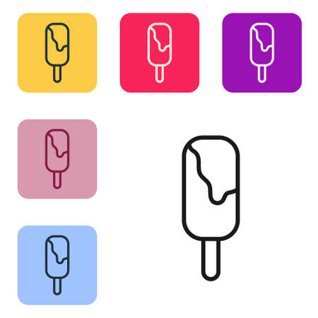 Black line Ice cream icon isolated on white background. Sweet symbol. Set icons in color square buttons. Vector