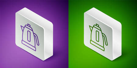 Isometric line Electric kettle icon isolated on purple and green background. Teapot icon. Silver square button. Vector