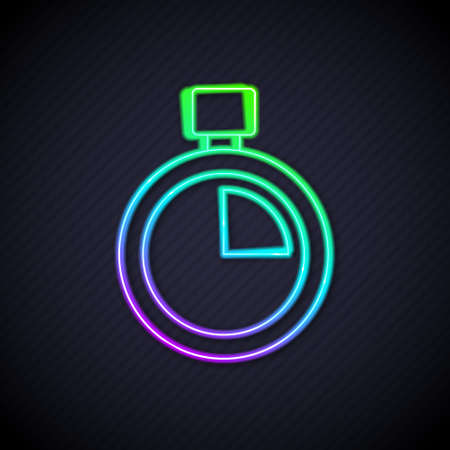 Glowing neon line Stopwatch icon isolated on black background. Time timer sign. Chronometer sign. Vector