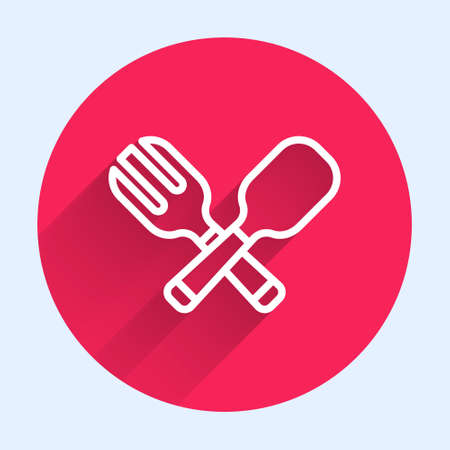 White line Crossed fork and spoon icon isolated with long shadow. Cooking utensil. Cutlery sign. Red circle button. Vector
