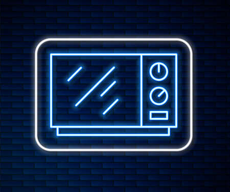 Glowing neon line Microwave oven icon isolated on brick wall background. Home appliances icon. Vector