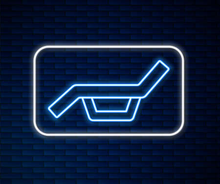Glowing neon line Sunbed icon isolated on brick wall background. Sun lounger. Vector