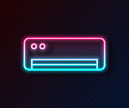 Glowing neon line Air conditioner icon isolated on black background. Split system air conditioning. Cool and cold climate control system. Vector  イラスト・ベクター素材