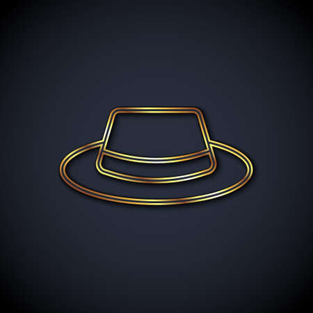 Gold line Man hat with ribbon icon isolated on black background. Vector