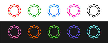Set line Sun icon isolated on black and white background. Vector
