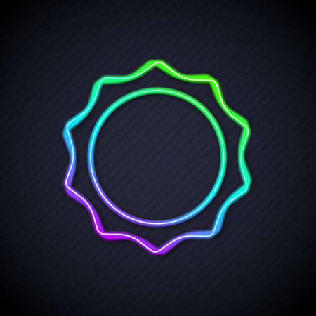 Glowing neon line Sun icon isolated on black background. Vector