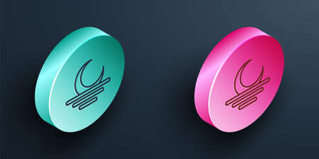 Isometric line Sunset icon isolated on black background. Turquoise and pink circle button. Vector  イラスト・ベクター素材