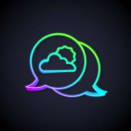 Glowing neon line Location cloud icon isolated on black background. Vector  イラスト・ベクター素材
