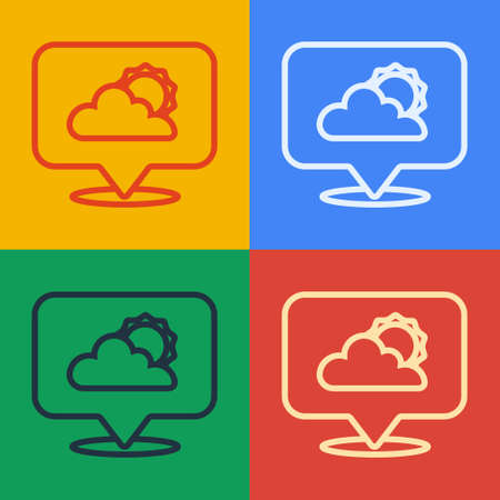Pop art line Location cloud icon isolated on color background. Vector