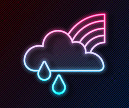 Glowing neon line Rainbow with cloud and rain icon isolated on black background. Vector  イラスト・ベクター素材