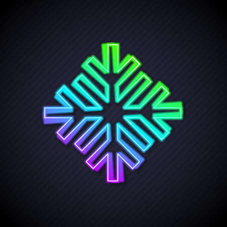 Glowing neon line Snowflake icon isolated on black background. Vector  イラスト・ベクター素材