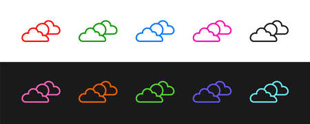 Set line Sun and cloud weather icon isolated on black and white background. Vector  イラスト・ベクター素材