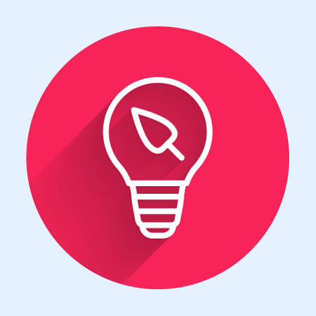 White line Light bulb with leaf icon isolated with long shadow. Eco energy concept. Alternative energy concept. Red circle button. Vector