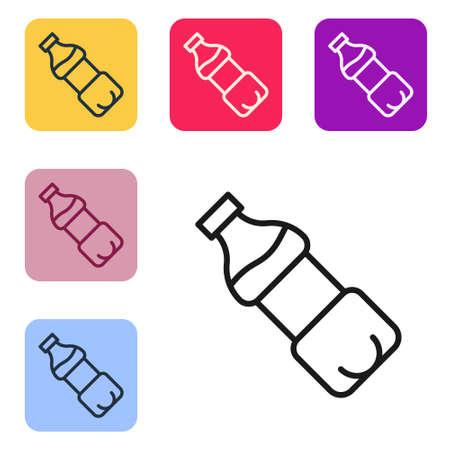 Black line Bottle of water icon isolated on white background. Soda aqua drink sign. Set icons in color square buttons. Vector  イラスト・ベクター素材