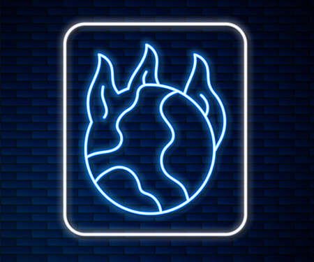 Glowing neon line Global warming fire icon isolated on brick wall background. Vector