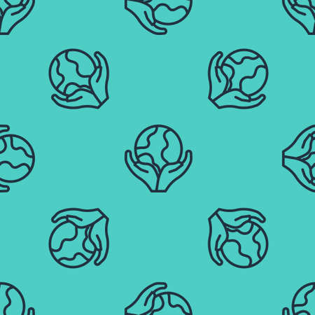 Black line Human hand holding Earth globe icon isolated seamless pattern on green background. Save earth concept. Vector  イラスト・ベクター素材
