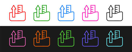 Set line Rise in water level icon isolated on black and white background. Vector  イラスト・ベクター素材