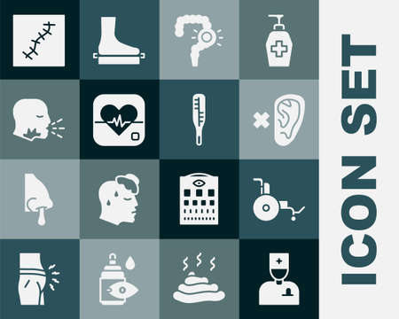 Set Male doctor, Wheelchair, Deaf, Gut constipation, Heart rate, Man coughing, Scar with suture and Medical thermometer icon. Vector Vektorové ilustrace
